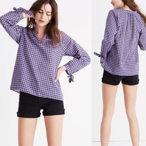 Madewell Tie-sleeve Popover Top in Whitby Plaid